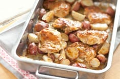 Curried chicken & new potato traybake
