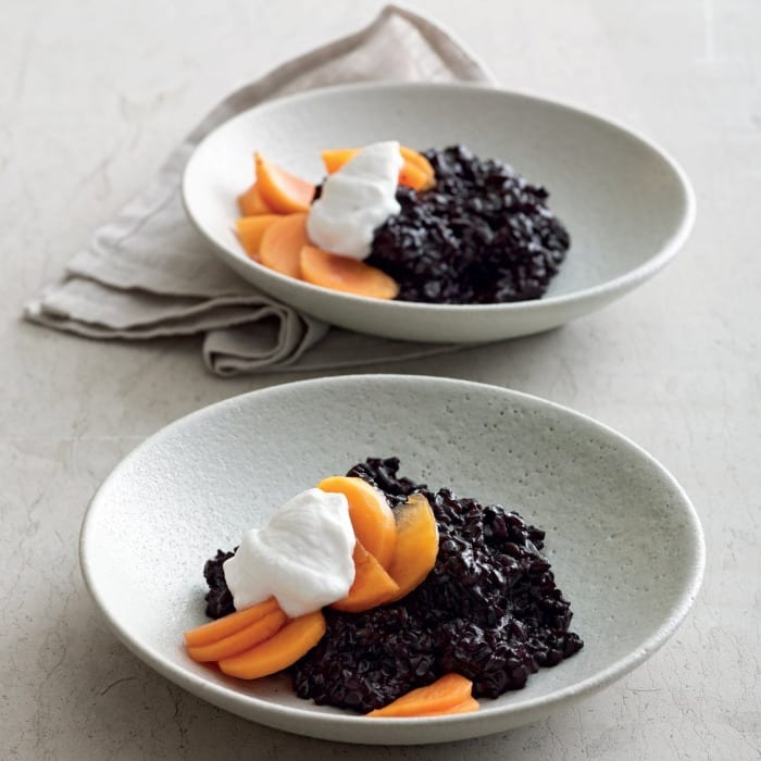 Immune-Boosting Dessert: Black Rice Pudding with Coconut and Persimmons